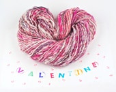 Handspun Yarn - Valentine - Pink and White with Gold Wrap