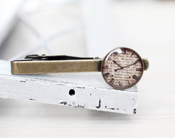 Antique clock Tie Clip - Steampunk, time, beige, dial - Wedding Gifts for Groomsmen - Tie Clip for him