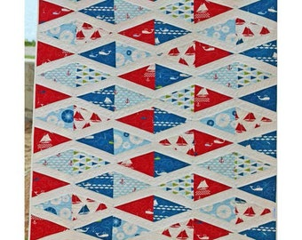 Flag Day Nautical Quilt - Lunden Quilt Designs - Modern Quilting Pattern - Uses Set Sail Fabrics from Birch Fabrics