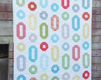 Cluck Cluck Sew -Ring Toss Jeweled Rings Hard Copy Quilt Pattern - Jelly Roll Friendly
