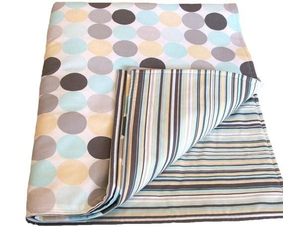 Reversible Baby Blanket Dot and Stripe Cotton Design