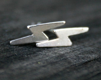 Sterling Silver Post Earrings - Lightning Bolts