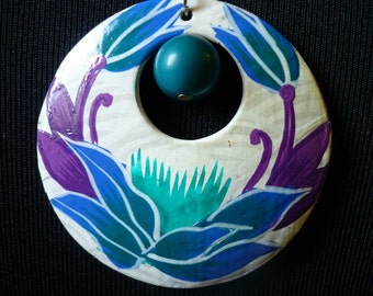 SALE Handpainted Purple and Blue Flowers Pendant Necklace, Handmade from Repurposed Jewelry, Recycle Upcycle