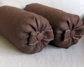 Pair of chocolate brown burlap Bolsters pillow with bow