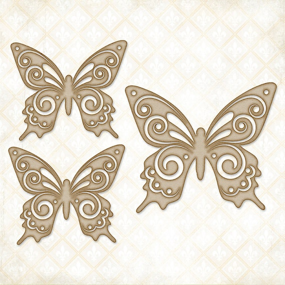 30% OFF 2 DAYS ONLY - Blue Fern Studios Chipboard - Brigitte Butterfly Set