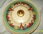Hall China Casserole Dish w/ Geometric Design