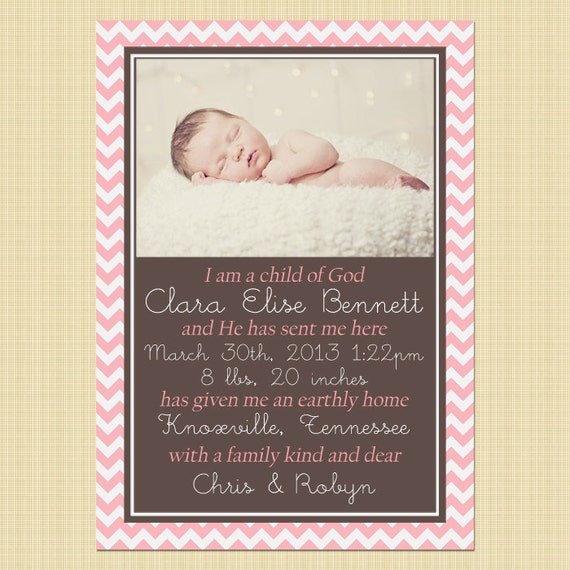 I Am A Child Of God LDS Photo Birth Announcement Card
