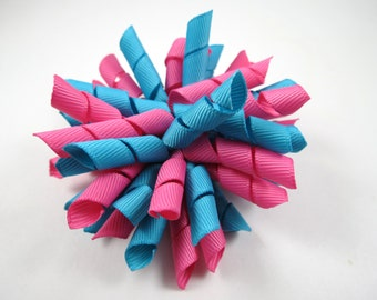 Pink and Aqua Blue Korker Hair Bow  -  Pink Korker Hair Clip - Blue Korker Hair Clip - Korker Hair Bow - Korker Hair Clip