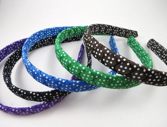 Polka Dot Headband - Braided Woven Headband - Black Brown Purple Blue Green Polka Dot Headband - Toddler Adult Headband - YOU CHOOSE ONE