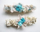 Bridal Wedding Garter and Toss- Vintage Shabby Chic Garter with Pearls and Crystals-Something Blue- Tiffany Blue and Ivory Garter Set