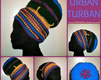 The 4 Chakras Urban Crocheted Head-wrap - MADE TO ORDER - Wrapping Tutorial also provided (Link is Below)