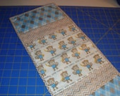 Blue & Tan with Monkeys quilted baby burp cloths