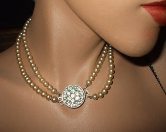 Sarah Coventry 3-Way 2 Strand Faux Pearl Necklace w Rhinestones - Vintage 1960s Jewelry