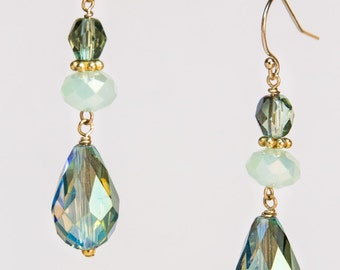 Crystal Dewdrop Earrings in Peacock Tones on Gold-Filled Earwires