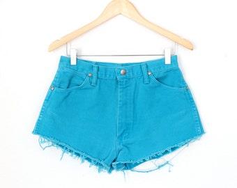 "Waist: 29.5""  Vintage Turquoise High Waisted Wrangler Shorts"