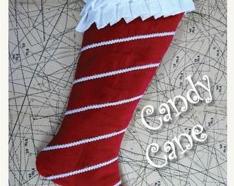 Candy Cane Christmas Stocking PDF Pattern