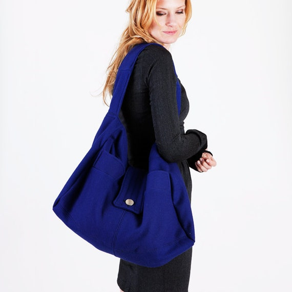 Navy Slouchy Oversized Wool Hobo Bag or Purse