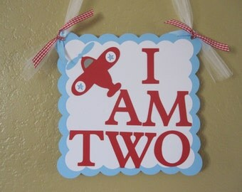 """Airplane Door Hanger """"I Am Two"""" or """" I AM ONE"""""""