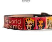 Leather dog collar / 3/4 inch / Marilyn Monroe Andy Pop art