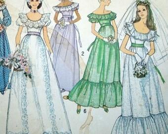 Vintage Wedding Dress Pattern - Uncut - Simplicity 6343 - Misses 12