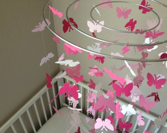 Butterfly baby mobile - Five shades of pink and white colors