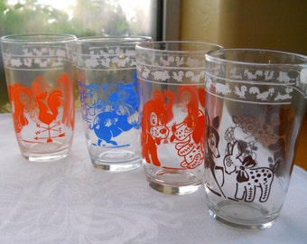 Vintage Juice Glasses with animal graphics,  Kraft Cheese Jars