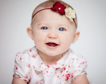 Holiday flower headband/ Newborn headband/ Baby headband
