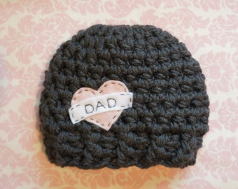 "Dark gray ""Dad"" hat/ newborn hat/ baby boy hat"