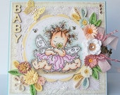 OOAK Baby Girl Card with Quilled Flowers