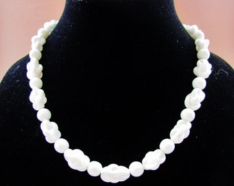 White glass bead necklace, 1950's summer jewelry
