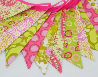 ON SALE *** Bright and Cheerful Party Bunting - CELEBRATION in Hot Pink & Lime - The perfect decoration for Showers, Weddings, and Parties
