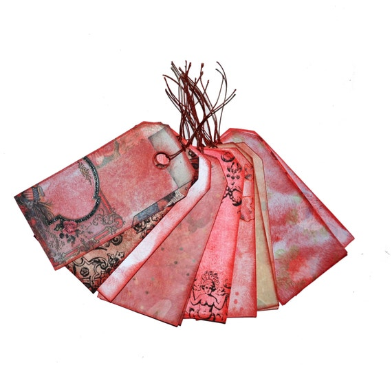 distressed gift hang tags dozen 12 red labels size 2