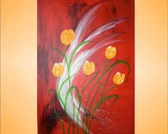 "Original Abstract Painting Modern art Acrylic Painting tulips Handmade by Carola, 36""x24"" FREE SHIPPING"