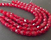 Czech Glass Beads, Siam Ruby 6mm Firepolished Beads - 25 beads