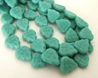 Czech Beads, Pale Turquoise Leaves, 12x9mm -  15 beads