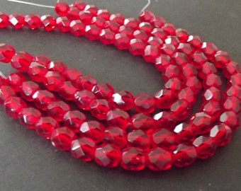 Czech Glass Beads, Siam Ruby 6mm Firepolished Beads - 25 beads