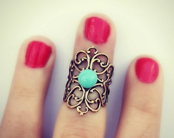 knuckle ring in turquoise, midi ring, above the knuckle ring, turquoise ring, antique brass ring, unique ring