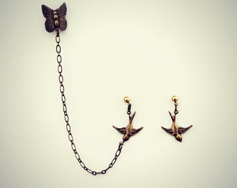 butterfly ear cuff bird earrings, chains ear cuff, bird ear cuff earrings, butterfly earrings