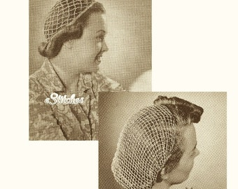 1940s 2 Snoods, Sports and Evening  - 2 Crochet patterns PDF 1514
