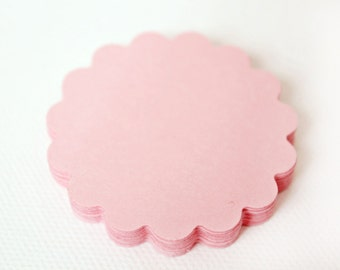 25 Pink Scallop Die cuts punches cardstock -Scrapbook, cards, embellishment, confetti