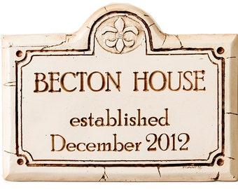 Custom House Address Sign with Fleur De Lis Accent