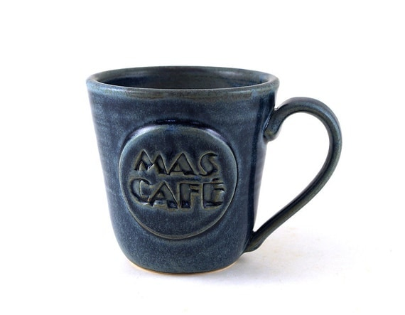 """Ceramic Coffee Mug:  Blue """"Mas Café"""" (""""More Coffee"""" in Spanish) Pottery Mug, Unique Pottery Gift for Him or Her by MiriHardyPottery"""