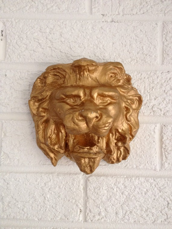 Vintage Gold Plaster Lion's Head