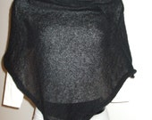Black poncho,shawl,mohair,knit,very soft,woman,accessory,very fluff