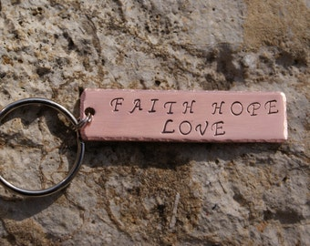 Personalized Hand Stamped Polished Copper Key Chain