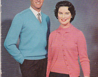 Vintage 1950s - Paton's Knitting Pattern No 539  For Family, Jumpers, Sweaters, Cardigans. Jackets