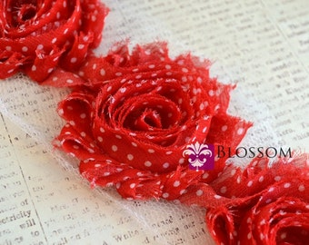 1/2 or 1 Yard Increments - Red Dots - Chiffon Shabby Rose Trim - DIY Flower Headband
