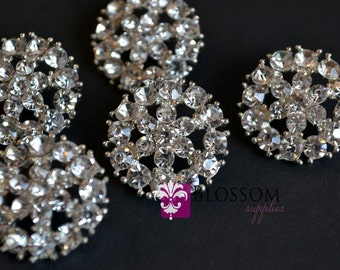 Metal Rhinestone Buttons with Loop Crystal Clear 20mm - Flower Centers - Wedding Bridal Prom (BS100)