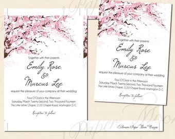 Watercolor Cherry Blossoms Text-Editable Wedding Invitations: 5 x 7 - Instant Download