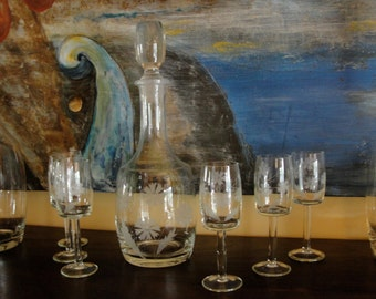 Vintage Crystal Decanter and Six Glasses